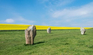 The standing stones of West Keenet Avenue at Avebury Stone Circle