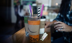 Vivian Ho tests different straws for boba tea at Steep Creamery and Tea in San Francisco.