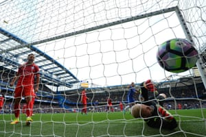 Leicester City's Kasper Schmeichel fails to keep out Diego Costa's opening goal