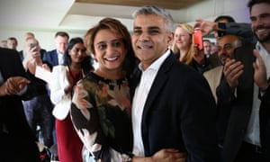 Capital fellow: Sadiq Khan is congratulated by his wife Saadiya after winning the contest to become Labour's London mayor.