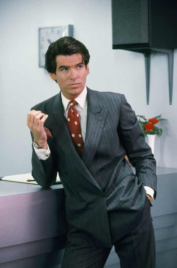 Pierce Brosnan as Remington Steele, the role that made him famous in the US