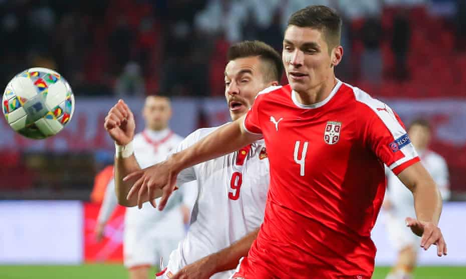 Nikola Milenkovic, in action here for Serbia last weekend, was the subject of €45m bid by Atlético Madrid, which Fiorentina rejected.