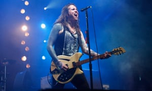 Laura Jane Grace performs with Against Me! at the Governors Ball Music Festival.