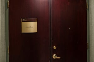 The door to the office of Proven Data in Elmsford, New York.