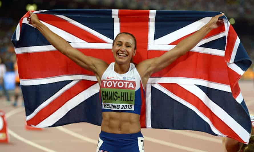 Britain's Jessica Ennis-Hill celebrates winning the gold medal in the heptathlon in Beijing in 2015.