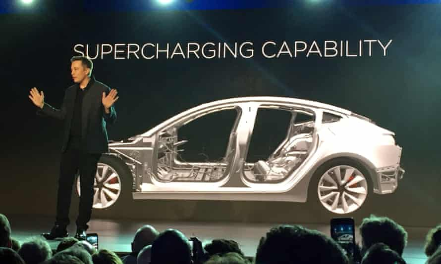 Tesla Motors CEO, Elon Musk, speaks at the unveiling of the Model 3 on 31 March 2016, in Hawthorne, California. The expensive, long-range cars have achieved cult status among enthusiasts.