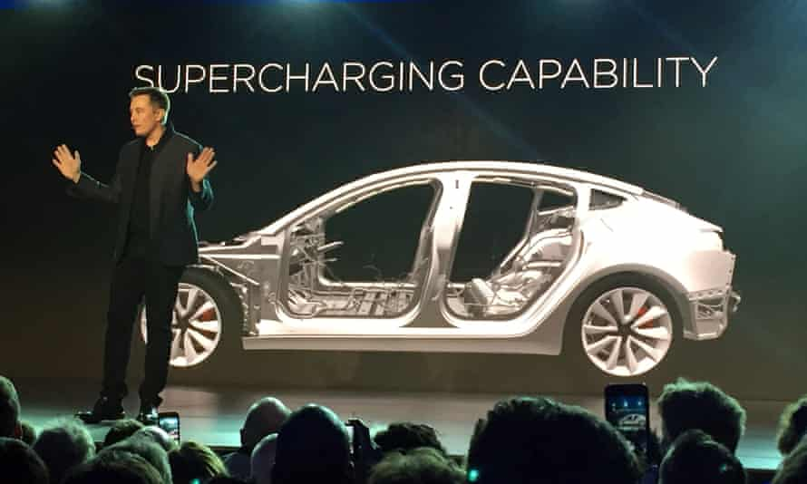 Elon Musk at the launch of Tesla's forthcoming affordable car, the Model 3.