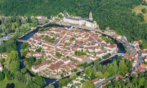 Brantôme town and Saint Pierre abbey (aerial view)