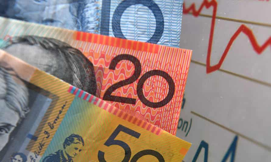 Australian currency next to graphs