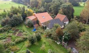 A drone photo of the farm