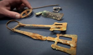 Some of the artefacts discovered during excavations at a burial site in Lincolnshire