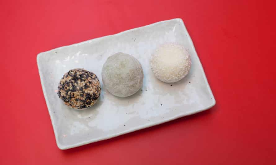 Sweet finish: mixed mochi (from left:sesame, matcha, coconut).