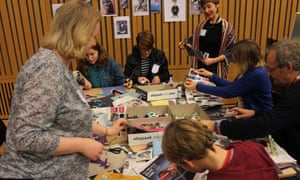 Collage like an artist with Elli Narewska and Katy Stoddard at the Guardian cartoon and art family day.