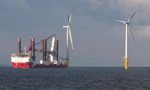An offshore windfarm being built off the UK coast. The Hornsea Project One will be located around 120km off the Yorkshire coast, and span more than 407km square.