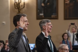 Witnesses George Kent and William Taylor are sworn in to testify before the House Intelligence Committee.