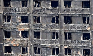 The he burnt out shell of the Grenfell Tower block in north Kensington, west London