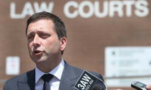 Liberal leader Matthew Guy speaks to the media at the Heidelberg Law Courts