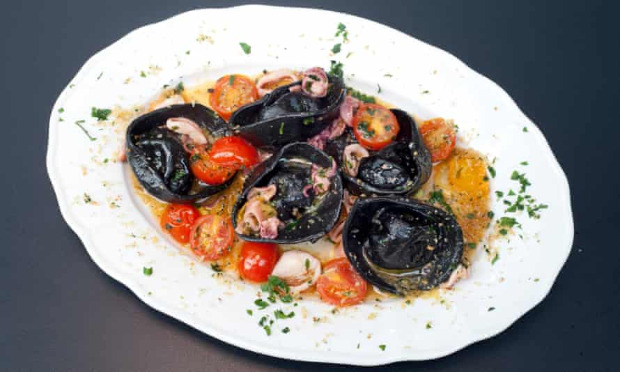 'As soft and silky as a duck down pillow': squid ink tortellini with sea bass.