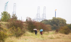 Two figures holding umbrellas walk in the nature reserve