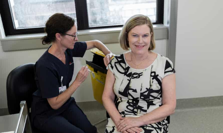 NSW chief health officer Kerry Chant receives the AstraZeneca vaccine