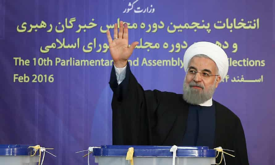 President Hassan Rouhani casts his ballot in the Iranian capital.