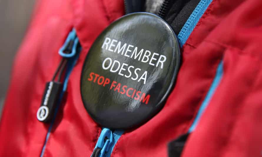 An anti-fascism demonstrator remembers victims of the 2014 clashes.