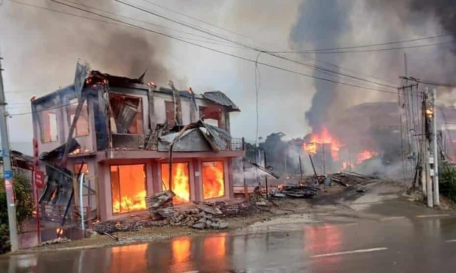 Houses in Thantlang, in Myanmar's Chin state, after allegedly being bombed by the military.