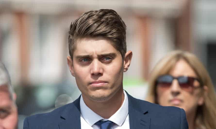 Cricketer Alex Hepburn, who raped sleeping woman, arrives at Hereford crown court before he was jailed for five years.
