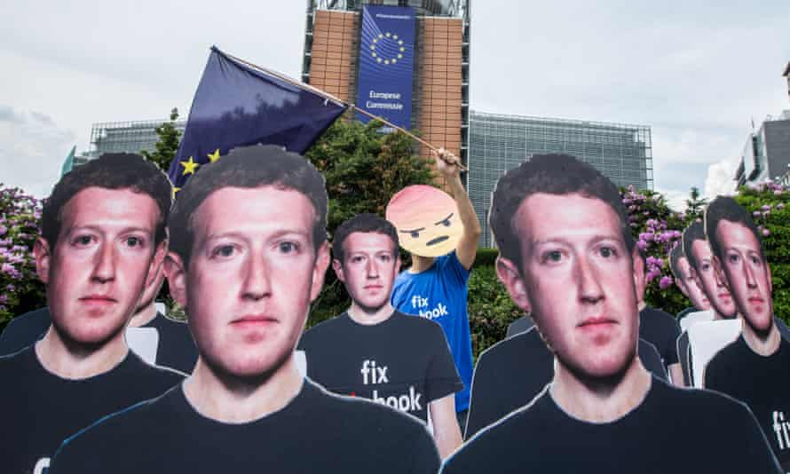 Mark Zuckerberg cutouts at a Brussels protest in 2018