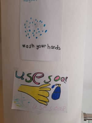 Posters made by children in the overcrowded Vathy refugee camp on Samos.