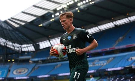 Newcastle's Matt Ritchie in an empty Etihad Stadium for the match against Manchester City this week