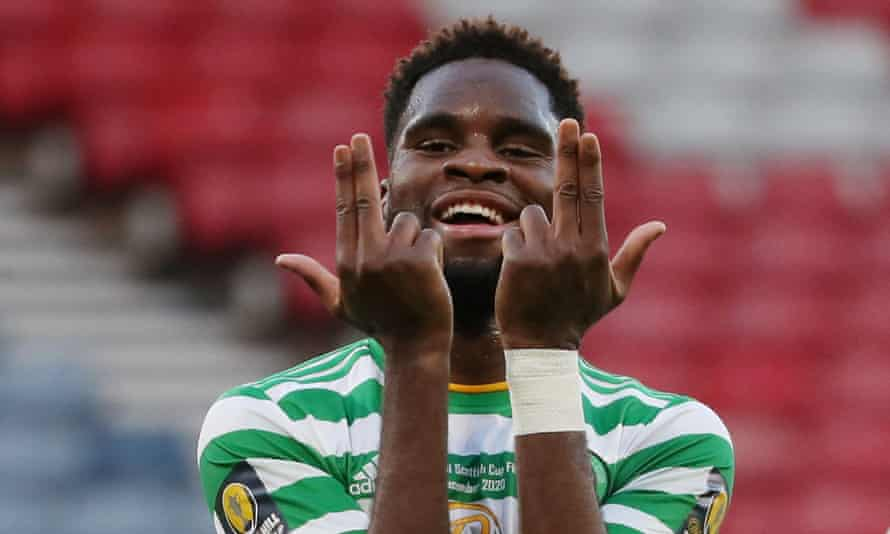 Odsonne Édouard celebrates after scoring for Celtic against Hearts in the Scottish Cup last December.