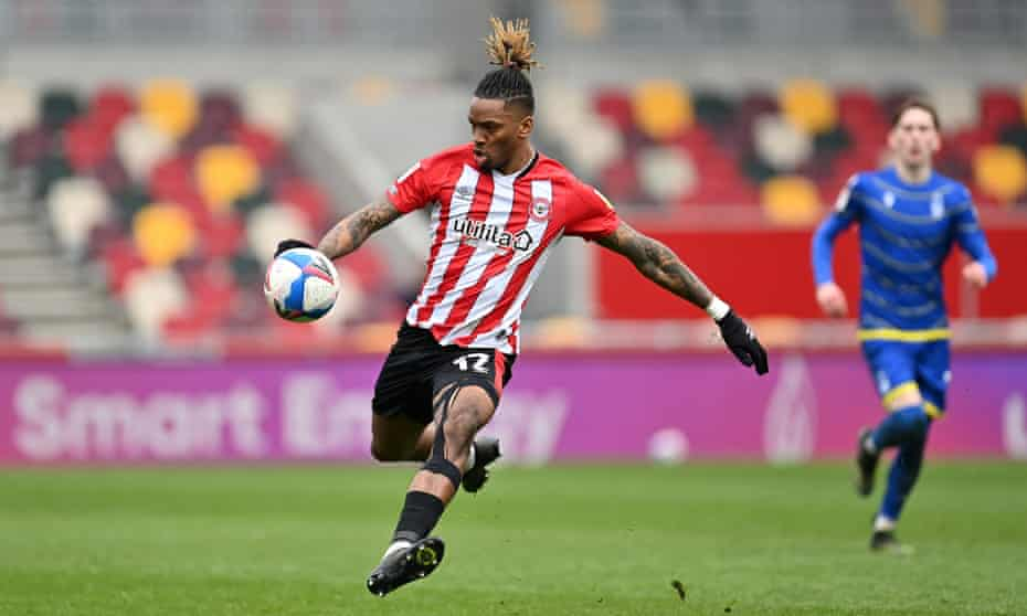 Ivan Toney in action for Brentford against Nottingham Forest. He has 28 goals this season.