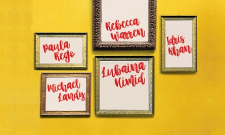 Frames with the artists' names in them hanging on a wall