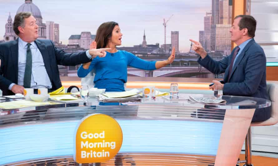 Piers Morgan in typically combative mode with Alastair Campbell and Susanna Reid