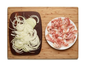 Felicity Cloake's Flammekuche 1. Choose toppings and chop up the onion.