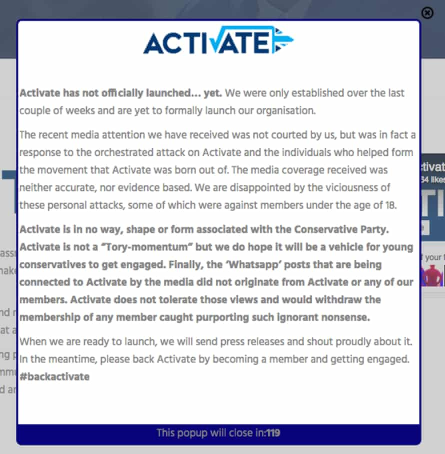 Pop-up on the Activate website claiming the group is yet to launch
