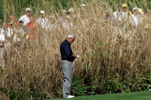 9 April 2008. Palmer pauses on the ninth hole during practice for the 2008 Masters.