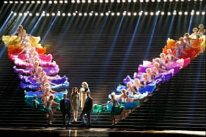 Michael Honeyman as Donner, Hyeseoung Kwon as Freia, Jacqueline Dark as Fricka, James Egglestone as Froh and the Rainbow Girls
