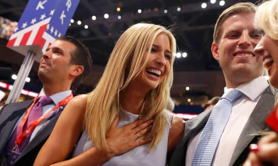 Donald Trump's children – Donald Jr, Ivanka, Eric and Tifffany – celebrate on the convention floor after their father was officially nominated.