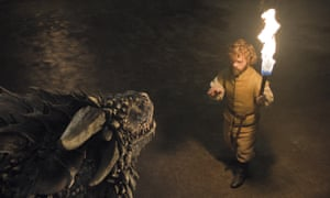 Tyrion Lannister (Peter Dinklage) and a dragon in Game of Thrones