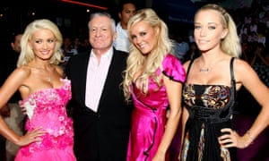 Hefner with his girlfriends Holly Madison, Bridget Marquardt and Kendra Wilkinson at the premiere of House Bunny in 2008