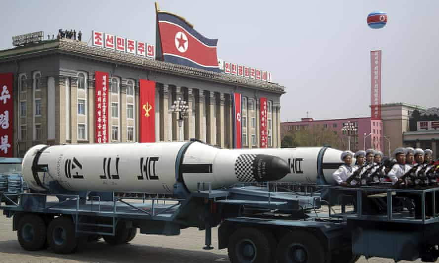 A submarine missile is displayed in Kim Il-sung Square during a parade in North Korea on Saturday.