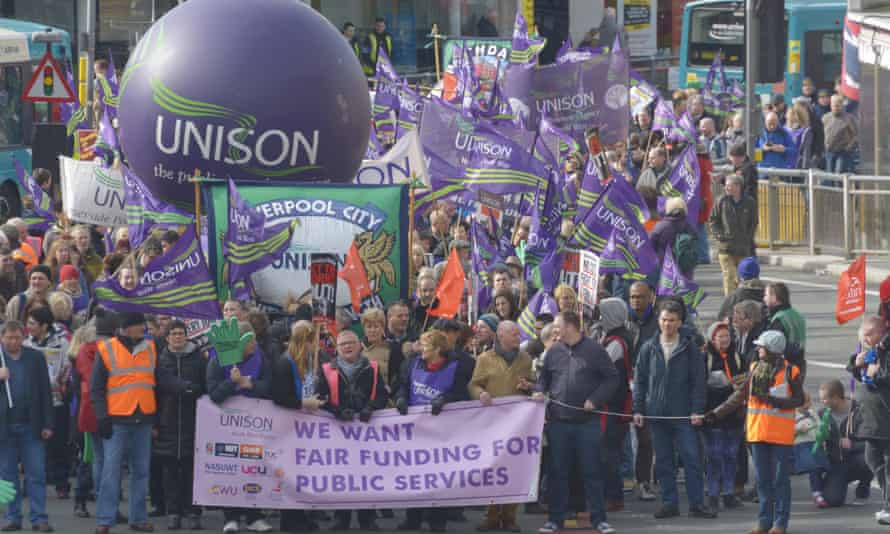 Members of trade union Unison march through Liverpool last year.