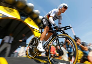 Tony Martin of Germany begins the Tour.