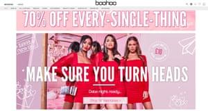 Screengrab of the fashion website Boohoo