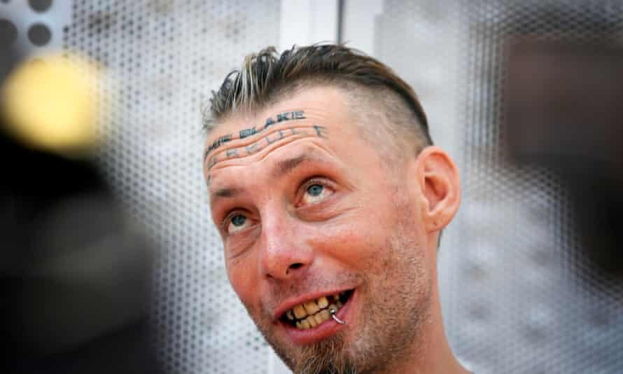 Tomek, a homeless man allegedly paid to have a groom's name tattooed on his forehead