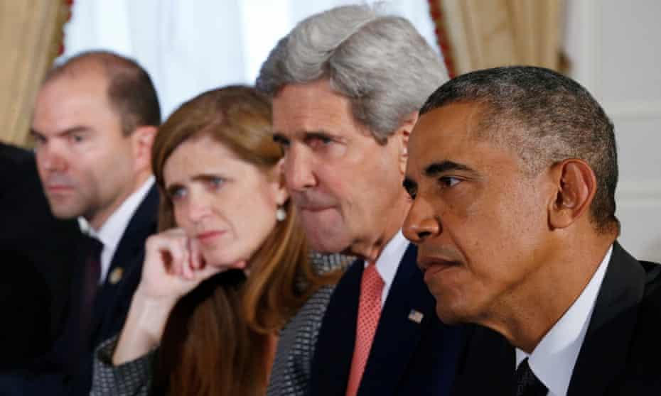 Ben Rhodes, Samantha Power, John Kerry and Barack Obama.