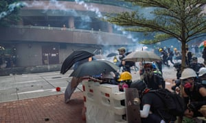 Protesters face-off against riot police in Wong Tai Sin district