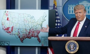 Donald Trump gestures to a map while speaking about his administration's response to the coronavirus pandemic.